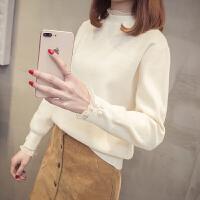 时尚女士毛衣秋冬装新款蕾丝拼接打底衫套头针织衫韩版女装百搭