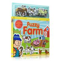 原版进口英文正版 Soft Felt Play Books:Fuzzy Farm 农场场景益智玩具磁贴纸板书撕不烂游戏