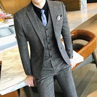 新品18秋冬男士韩版修身加厚格子西服套装潮流英伦青年帅气休闲三