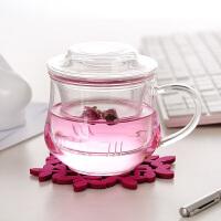 耐热玻璃杯三件式花茶杯创意茶杯 300ML带盖玻璃小草帽水杯小兰雅茶杯办公杯 玻璃盖子