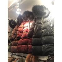 金属丝冬季女装新韩版时尚中长连帽大真毛领亮面羽绒棉衣