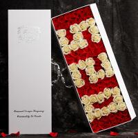 玫瑰花束520情人节礼物送女友礼盒干花生日皂花仿真香皂花 透明 520