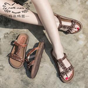 玛菲玛图新品拖鞋女平底凉拖鞋休闲真皮复古沙滩鞋女M19811316T6R