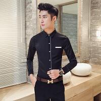 新款潮男士长袖衬衫修身礼服加小码工作服小个子S码衬衣青少