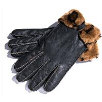 冬季羊皮新款真皮手套女士獭兔毛口可爱皮手套加厚保暖