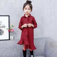 女童秋装2018新款连衣裙中大童小女孩洋气裙子儿童秋季长袖格子裙 红色