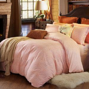 【每满150减50】水星家纺磨毛纯棉四件套全棉双人简约素色加厚保暖被套床单暖馨