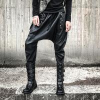 新款暗黑个性金属铁环男士底裆哈伦皮裤日系复古大裆小脚靴子裤休