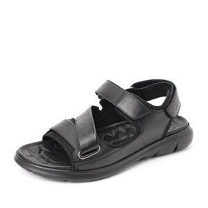 Belle/百丽2018夏季新款牛皮革/纺织品平底休闲沙滩男凉鞋18083BL8