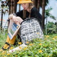 【支持礼品卡支付】soundbyte夏季新款白色人物双肩包女韩版印花学生书包学院电脑包