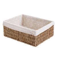 浴室置物筐方形收纳篮小篮子草编收纳筐桌面编织杂物收纳盒