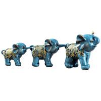 大象摆件招财风水象创意家里客厅酒柜玄关家居装饰品对象一家三口