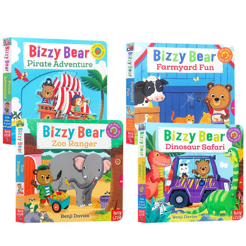 英文原版机关纸板书 Bizzy Bear 忙碌的小熊4本趣味玩具亲子互动锻炼孩子左右脑动手力纸板书 英语启蒙童书趣味游戏亲子互动绘本