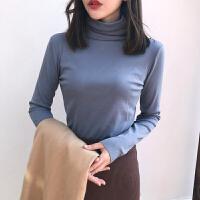 加厚高领打底衫新款女装秋冬季加厚修身上衣学生纯色加绒长袖T恤 均码