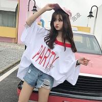 字母T恤女短袖韩版百搭宽松显瘦上衣蝙蝠衫夏学生2018新款中长款