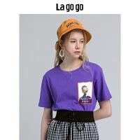 【5折价93】Lagogo/拉谷谷2018年秋季新款时尚圆领印花短袖T恤HCTT418Y01