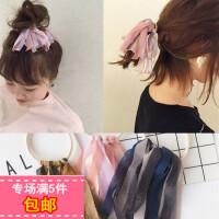日本波西米亚风甜美网纱蕾丝布艺流苏飘带发绳发圈韩国橡皮筋发饰