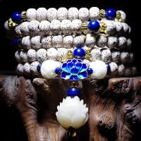 星月菩提子手串 白玉菩提根佛珠108颗手链男女项链莲花首饰品礼物