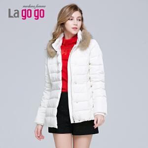 冬季新款时尚白色羽绒服女修身显瘦中长款白鸭绒加厚保暖