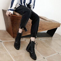 黑色牛仔裤女春秋2018新款韩版直筒显瘦九分老爹宽松加绒加厚裤子