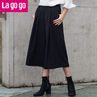【商场同款】Lagogo/拉谷谷2017年春季新款时尚百搭纯色休闲裤子GAKK53G233