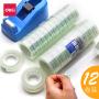 12卷 得力 30011 文具胶带 1.2cm透明胶 透明胶带 玻璃胶12mm*14y