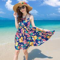 夏露背沙滩裙 短款吊带裙子 显瘦碎花波西米亚海边度假短裙 如图色 X