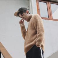 秋装新品英伦男士修身毛绒毛衣韩版休闲高翻领纯色线衣打底衫男装