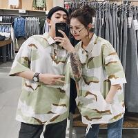 2018潮流韩版情侣装夏装新款迷彩印花短袖T恤学生宽松大码港风打