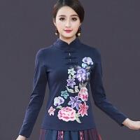 中国风女装春装刺绣立领上衣复古民族风盘扣长袖女T恤大码打底衫