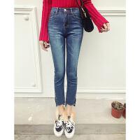 牛仔裤女冬季新款韩版高腰裤脚前短后长显瘦百搭九分裤