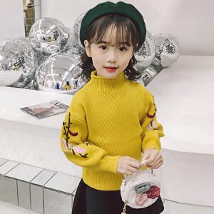 乌龟先森 针织衫 女童长袖圆领花朵套头衫秋冬新款韩版儿童时尚休闲舒适百搭中大童毛衣