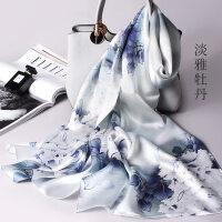 真丝丝巾女桑蚕丝围巾百搭长款杭州丝绸秋冬季冬天披肩妈妈款