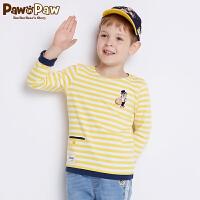 【3件4.5折 到手价:161】Pawinpaw卡通小熊童装秋男童长袖T恤中小童条纹T恤