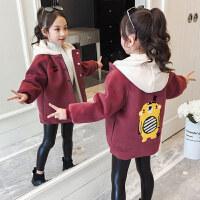 童装2019冬季新款女童后背小黄呢大衣中大童加绒外套儿童保暖上衣