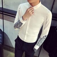 春装新款男士韩版修身印花长袖衬衫潮流青年精神小伙免烫衬衣服