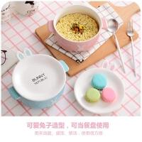 创意卡通泡面碗带盖有盖陶瓷可爱家用个性大号泡方便面日式双耳碗