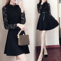 秋冬女装黑色连衣裙中长款收腰显瘦打底蓬蓬裙蕾丝长袖赫本小黑裙