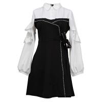 打底连衣裙秋春装女2018新款小个子搭配韩版时尚显高长袖高腰裙子 黑色