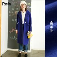 雾霾蓝毛呢外套少女中长款新款春装韩版学生ulzzang呢子大衣