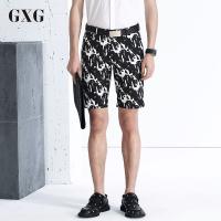 GXG短裤男装 夏季斯潮流男士青年百搭时尚都市黑白色几何印花短裤