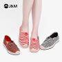 【爆款推荐】jm快乐玛丽2019春季新品波浪条纹平底套脚松糕休闲帆布女鞋