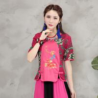 中国风棉麻上衣夏季新款民族风女装短袖T恤女复古拼接绣花衬衫女