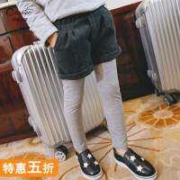 童装女童打底裤中大童假两件加绒加厚春装儿童运动休闲裤宝宝裤子