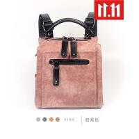 2109新款双肩包女小包韩版超火个性时尚复古多用女包小背包女 粉紫 时尚百搭