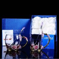 泰蜜熊珐琅彩水杯茶杯子家用耐高温玻璃杯珐琅杯花茶杯送女友礼品礼物