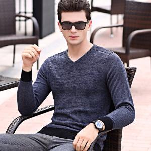 伯克龙纯羊毛衫男士V领冬季加厚保暖休闲针织衫毛线衣修身打底衫 Z76808