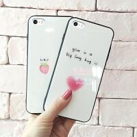 苹果5s手机壳女款可爱卡通玻璃个性全包se防摔创意潮牌情侣iPhone5手机套简约网红韩国s新款潮流抖音文字高档