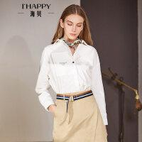 海贝2018春季新款女装 通勤纯棉方领字母印花长袖白色衬衫百搭