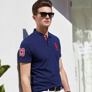 2019春夏季新款中青年爸爸纯色纯棉轻商务男式短袖t恤polo